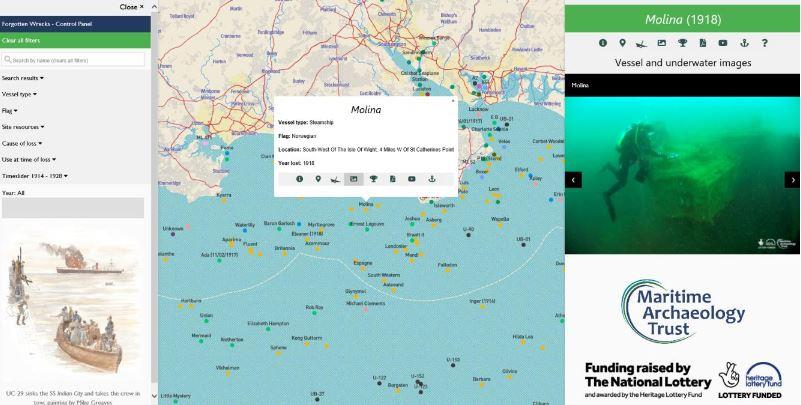 Forgotten Wrecks of the First World War interactive map in use – images for SS Molina.